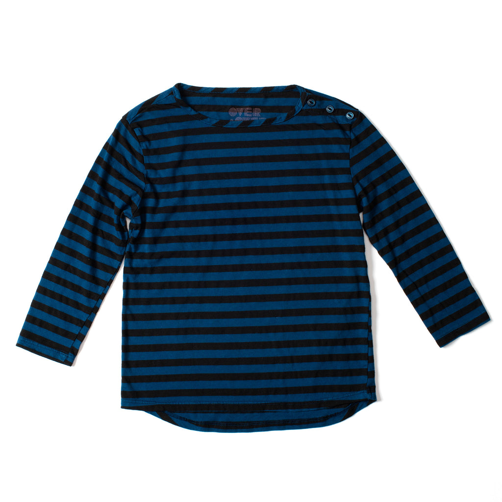 Long Sleeve Button Tee Black & Indigo