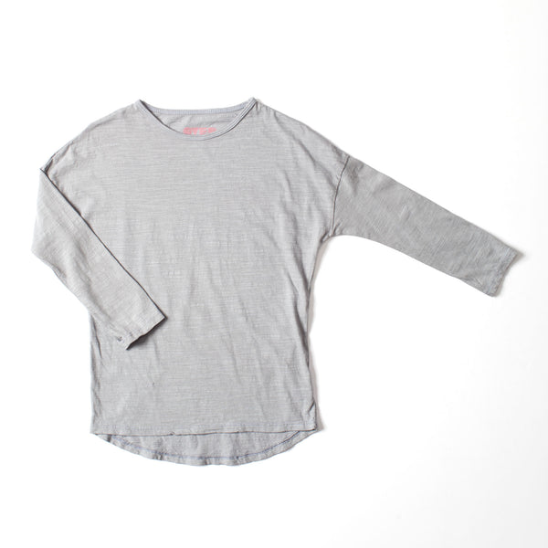Simple Long Sleeve Tee Silver Gray