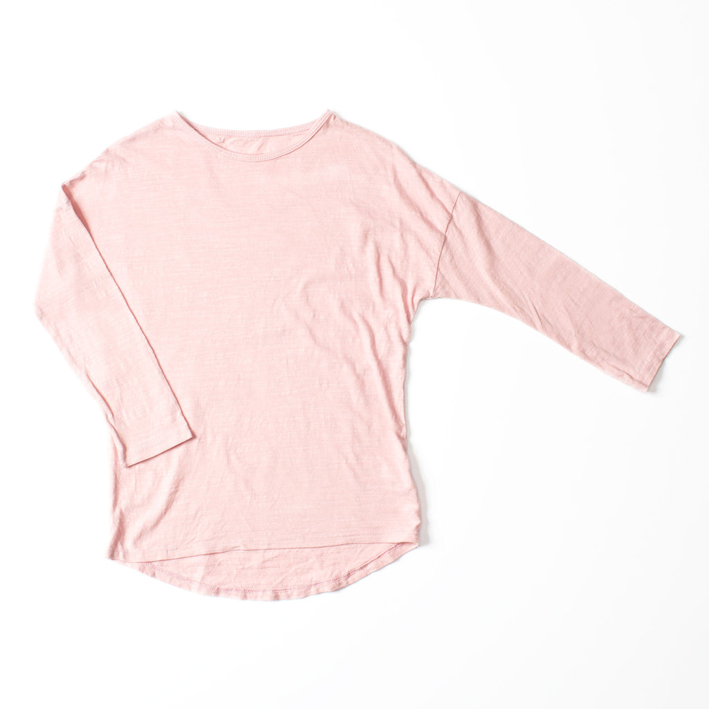 Simple Long Sleeve Tee Tea Pink