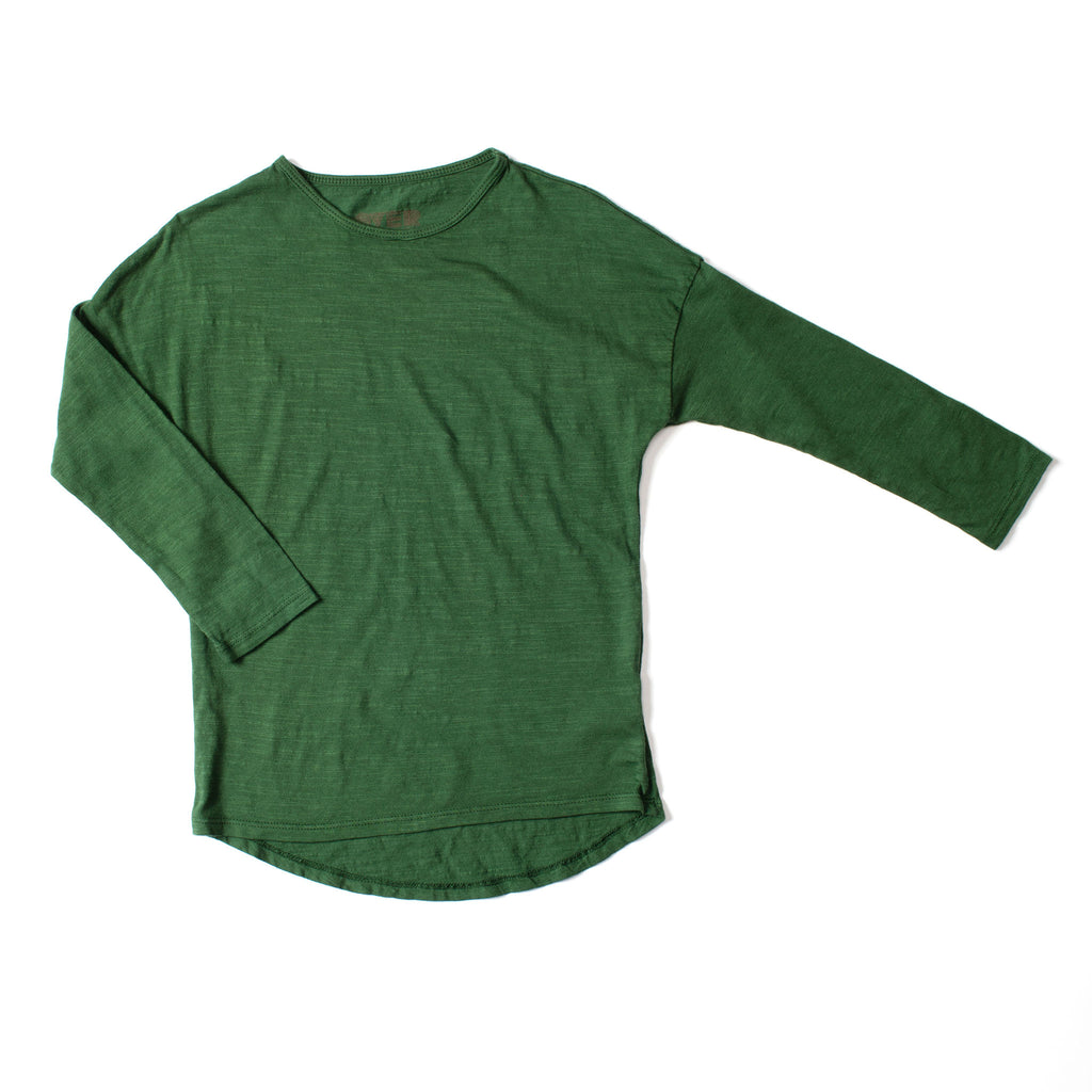 Simple Long Sleeve Tee Deep Green