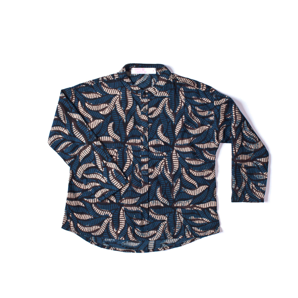 Tunic Shirt Blue Leaf
