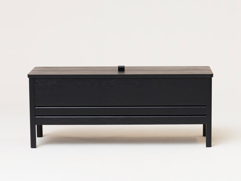 Form and Refine - A Line Storage Bench - Black Stained Oak