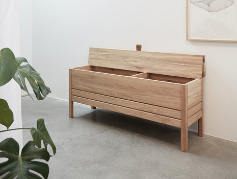Form and Refine - A Line Storage Bench - White Oiled Oak