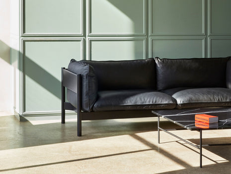 HAY Arbour Sofa / 3-Seater / Nevada Black Leather / Black Beech Frame