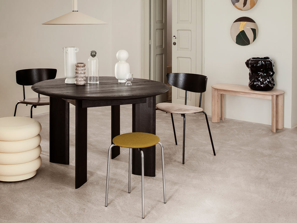Black Oiled Bevel Round Table by Ferm Living