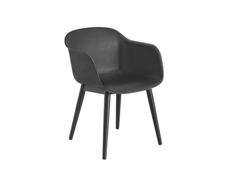 Fiber Armchair with Wood Base, Black Shell, Black Ash Base