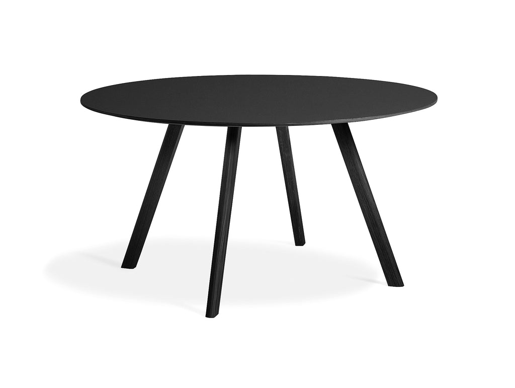 Black Stained Oak Black Linoleum Copenhague Round Dining Table CPH25 by HAY