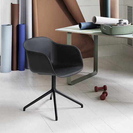 Black Fiber Armchair with Swivel Base by Muuto