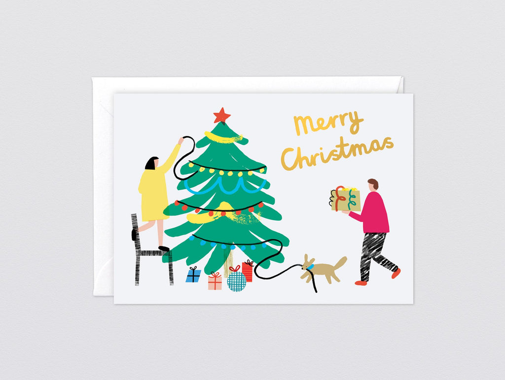 'Tree Decorating' Foiled Greetings Card