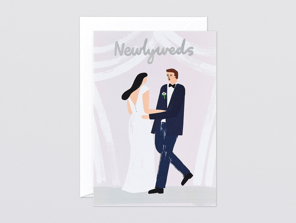 'Newlyweds' Foiled Greetings Card by Wrap