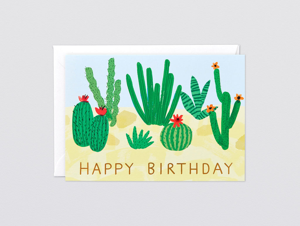 'Happy Birthday Cactus' Foiled Greetings Card By Wrap