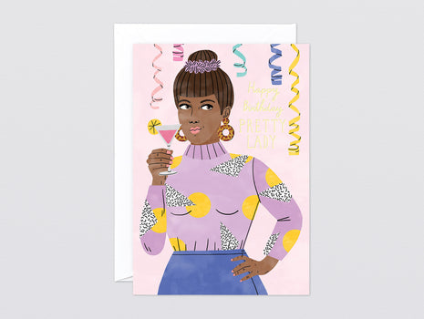'Happy Birthday Pretty Lady' Foiled Greetings Card by Wrap