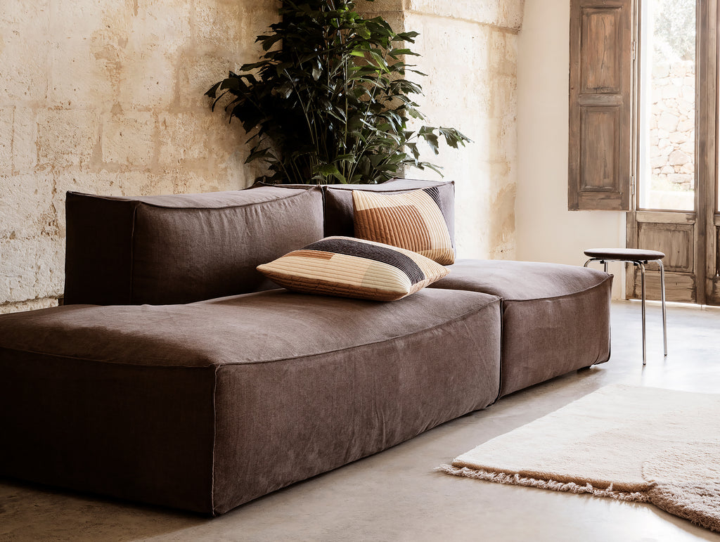 2-Seater with Chaise Lounge - Left Open End / No Armrest in Hot Madison Reloaded by Ferm Living