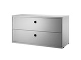 Grey String System Chest with 2 Drawers by String