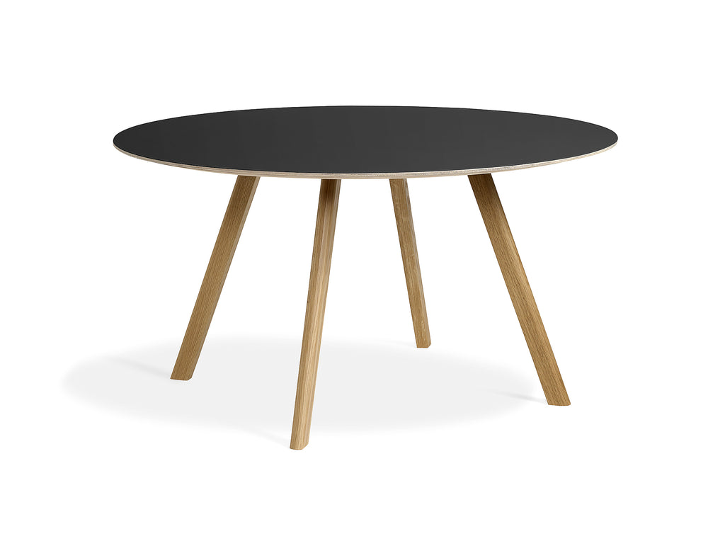 Clear Lacquered Oak Black Linoleum Copenhague Round Dining Table CPH25 by HAY