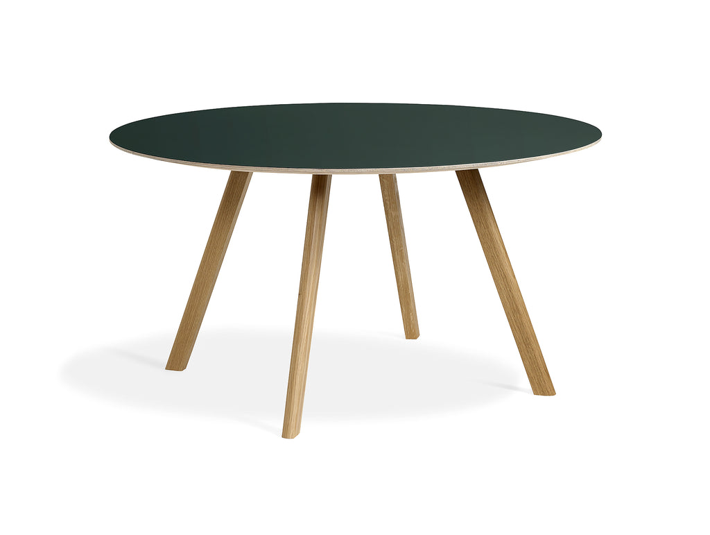 Clear Lacquered Oak Green Linoleum Copenhague Round Dining Table CPH25 by HAY