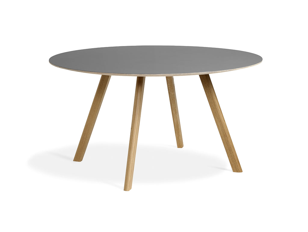 Clear Lacquered Oak Grey Linoleum Copenhague Round Dining Table CPH25 by HAY