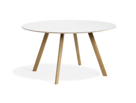 Clear Lacquered Oak White Laminate Copenhague Round Dining Table CPH25 by HAY