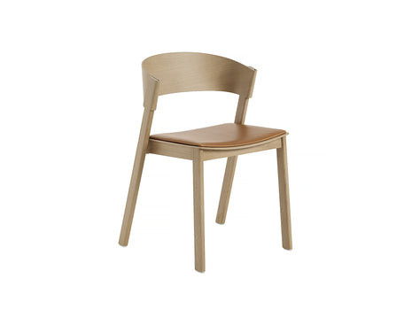 Natural Oak and Cognac Silk Leather Cover Side Chair by Muuto