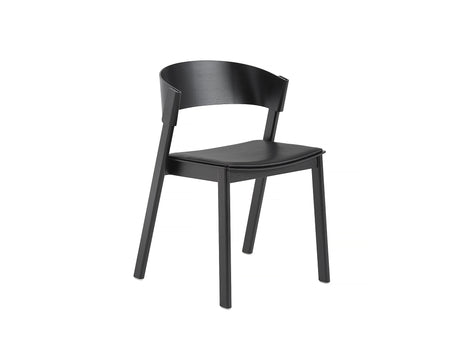 Black Oak and Black Silk Leather Cover Side Chair by Muuto