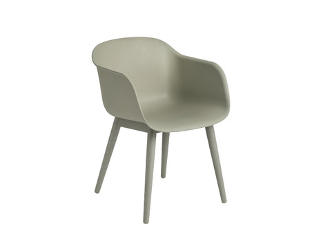 Fiber Armchair with Wood Base, Dusty Green Shell, Dusty Green Base
