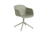 Dusty Green Fiber Armchair with Swivel Base by Muuto