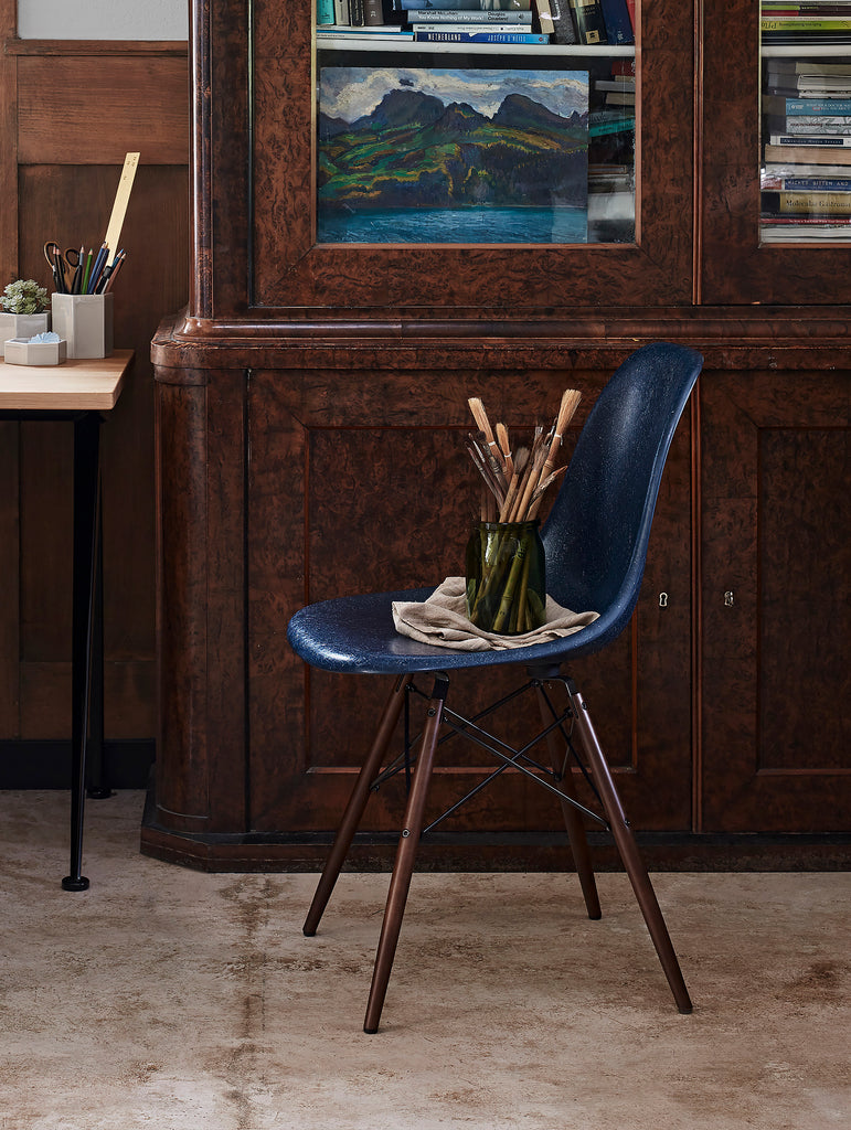 Eames Fiberglass Side Chairs by Vitra - Navy Blue / Dark Maple