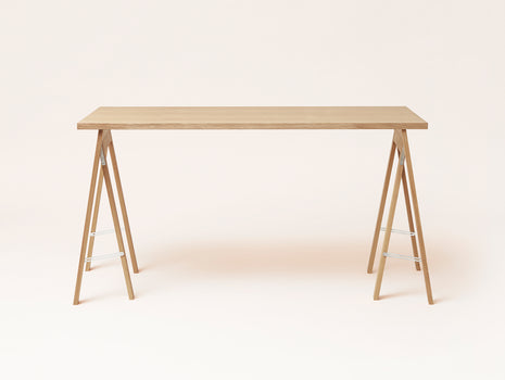 White Oiled Oak Linear Tabletop - Austere Trestle - by Form & Refine