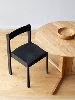Blueprint Chair in Black Painted Ash with oiled oak Trefoil Table by Form & Refine