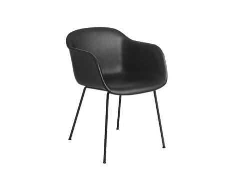 Fiber Armchair - Black Silk Leather, Black Metal Base