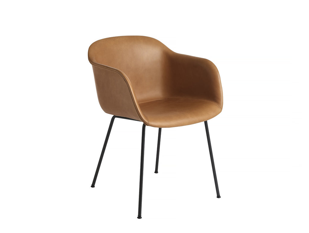Fiber Armchair - Cognac Silk Leather, Black Metal Base