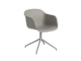 Grey Fiber Armchair with Swivel Base by Muuto