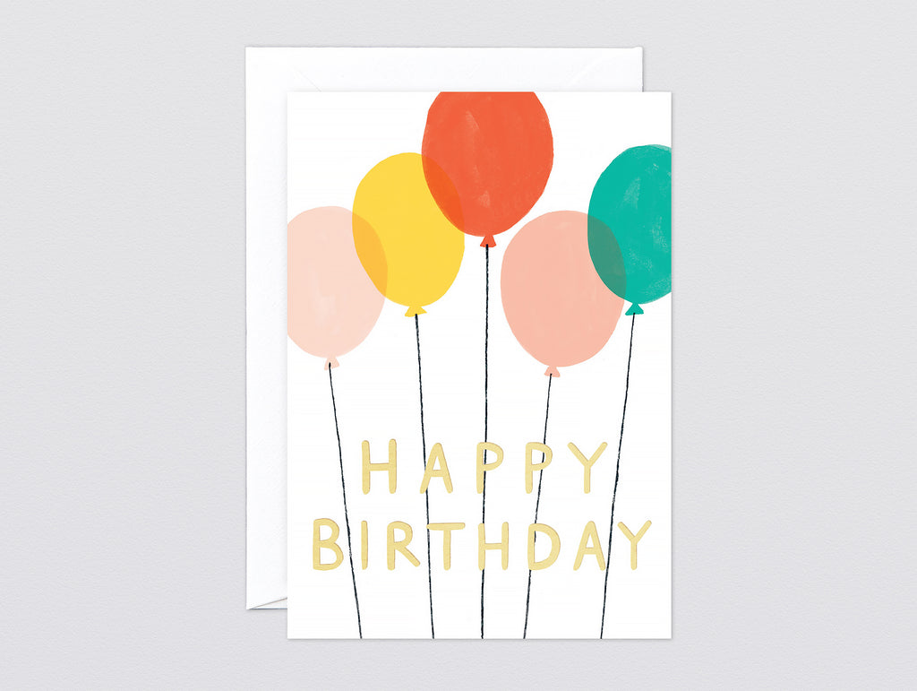 'Happy Birthday Balloons' Foiled Greetings Card by Wrap