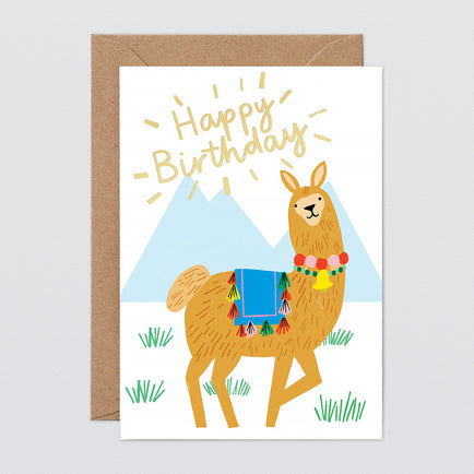 'Happy Birthday Llama' Foiled Greetings Card by Wrap