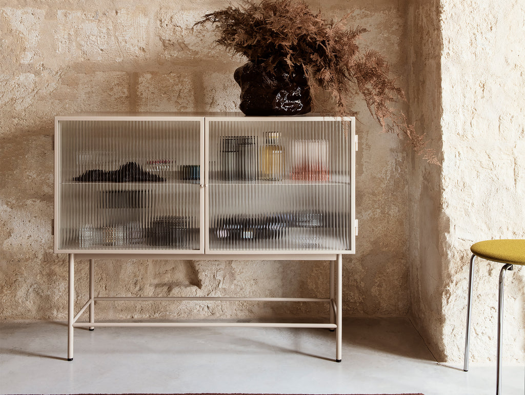 Ferm Living Haze Sideboard - Cashmere/Ripple Glass