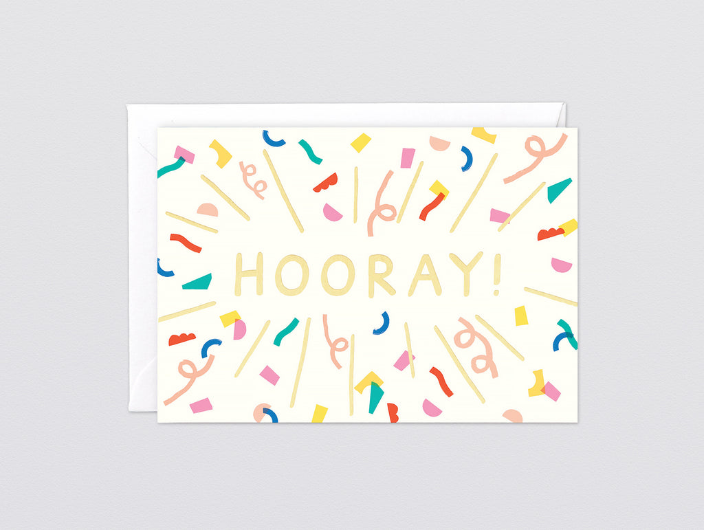 Hooray Foiled Greetings Card by Wrap