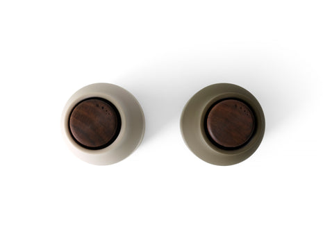 Bottle Grinders (Walnut top) - Hunting Green/Beige by Menu