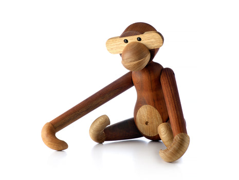 Large Wooden Monkey in Teak and Limba by Kay Bojesen
