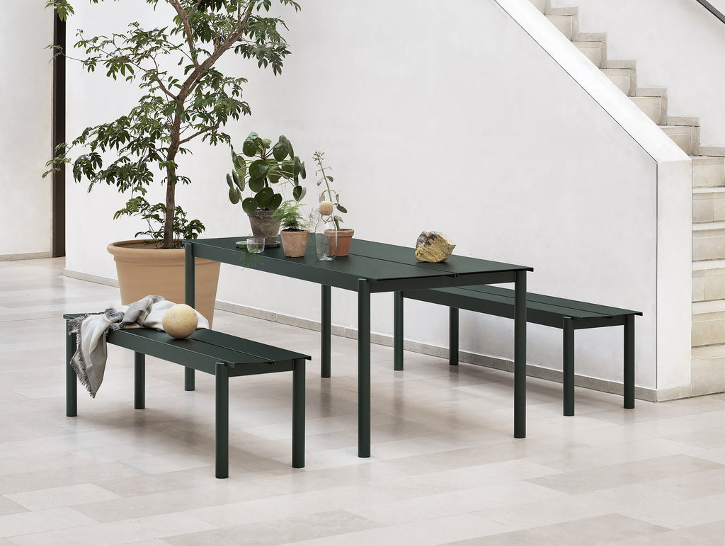 Linear Steel Table and Bench - Dark Green
