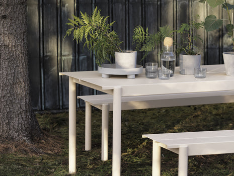 Linear Steel Table and Bench - Off-White