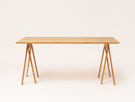 Oiled Oak Linear Tabletop - Austere Trestle - by Form & Refine