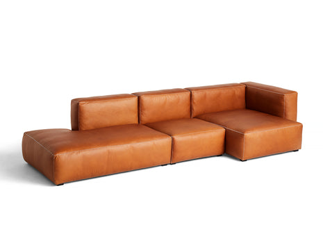Cognac Silk Leather with Light Grey Stitches Mags Soft 3 Seater Sofa Combination 4 by HAY