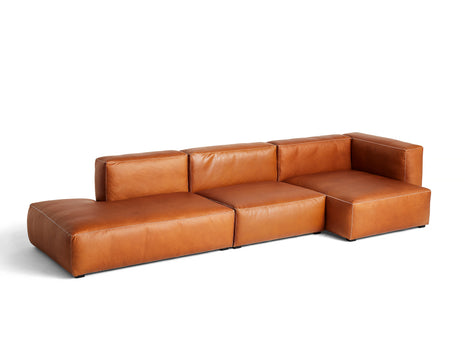 Cognac Silk Leather with Light Grey Stitches Mags Soft 3 Seater Sofa Combination 5 by HAY