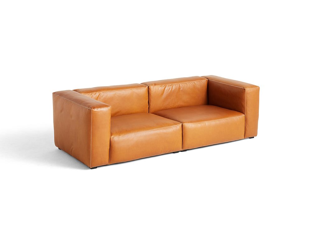 Cognac Silk Leather Mags Soft 2.5 Seater Sofa Combination 1 by HAY