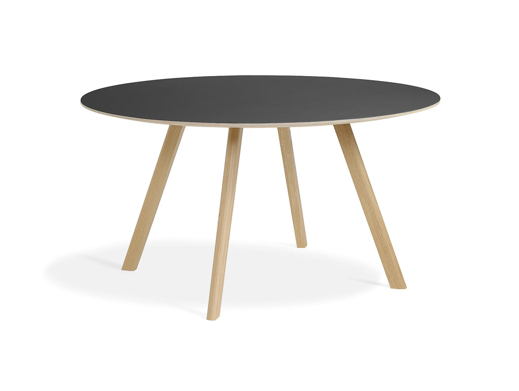 Matt Lacquered Oak Black Linoleum Copenhague Round Dining Table CPH25 by HAY