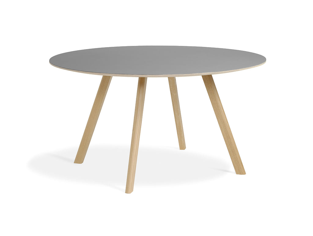 Matt Lacquered Oak Grey Linoleum Copenhague Round Dining Table CPH25 by HAY