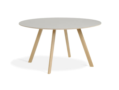 Matt Lacquered Oak Off White Linoleum Copenhague Round Dining Table CPH25 by HAY