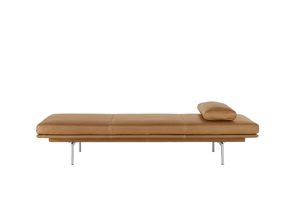 Outline Daybed With Cushion in Cognac Refine Leather / Aluminium Legs by Muuto