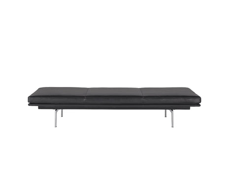 Outline Daybed Without Cushion in Black Refine Leather / Aluminium Legs by Muuto