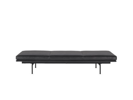 Outline Daybed Without Cushion in Black Refine Leather / Black Legs by Muuto